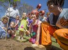 GRAFTON's homegrown environment awareness campaigners dirtgirl and scrapboy were at Market Square to plant the first of 80 Jacaranda trees.