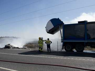 Fire investigators will probe how a truck carrying cardboard caught fire on the New England Hwy, East Greenmount.