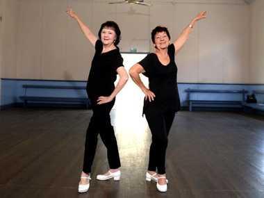 Tap dancers Shirley Allen and Joanie Cowie. Photo Allan Reinikka / The Morning Bulletin