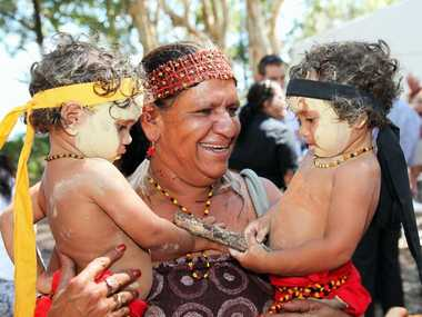 The Butchella people have been officially recognised as the traditional owners and native title holders of Fraser Island during a ceremony at Kingfisher Bay Resort - Aunty Joyce Bonner and her twin Grandsons Garim and Dirum Bonner. Photo: Jocelyn Watts / Fraser Coast Chronicle
