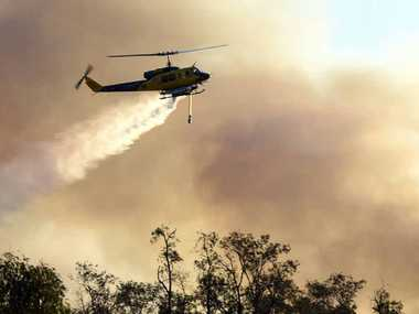 Water bombing helicopters tackled a fire at Ningi at the weekend.