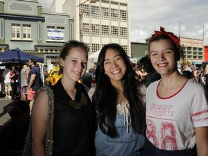 Eat Street, Margaret Street Sunday markets. From left; Molly Parker, Sarah Sellars, Charlotte Gehrmann. Photo: Bev Lacey / The Chronicle
