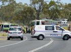 Police and other emergency services attend a crash between a motorcycle and a truck on the Capricorn Highway 5km East of Westwood. Photo: Chris Ison / The Morning Bulletin