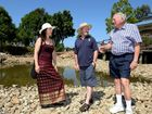 Chris Cherry (President Pottsville community association), Tweed mayor Gary Bagnall and Bryan Threlfall (Executive member) at the Pottsville pond. Photo: John Gass / Tweed Daily News
