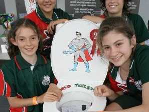 Students from Mt Mee State School put their toilets on display to claim second prize at the 2013 World Toilet Day celebrations. Annabelle Hinchey, Grayson Lamprechet, Aleasha Duncan and Freya Moran were excited to take part. 