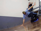 CHAMPION skater, Tony Hawk has taken a hoverboard out for a spin on a half pipe.