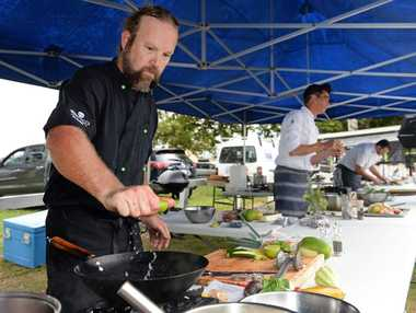 Aaron Wilkinson of The Balcony Restaurant, Jonathon Evans of Ju Ju's cafe and Thomas Pirker of Mavis's Kitchen at the cook off at the Murwillumbah farmer markets. Photo: John Gass / Tweed Daily News