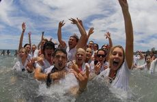 Mountain Creek State High graduates at the beach in 2011.