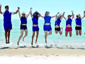 TOO COOL FOR SCHOOL: Mackay North State High School Year 12 students (from left) Brandon Watts, Charlotte Lambert, Cleo Falzon, Aisa Rodgers, Katelyn Sartor, Gabby Bristow, Steph McPhee, Majella Gibbs,Taylor Collett, Dallas Chyba and Zoe Eisenmenger celebrate at Harbour Beach