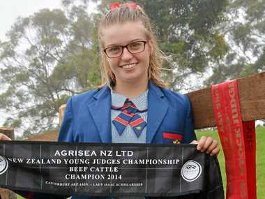 WINNER: Downlands College Year 11 student Cloe Wallace has earned bragging rights after winning the senior judging competition at the Canterbury A&R; Show earlier this month.