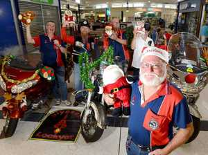ON DISPLAY: The Ulysses Club of Lockyer set up a display of bikes at the Brassall Shopping Centre to raise money for their annual toy run. (Front) President Alan 'Mousey' Gray with (from left) Ian 'Foggy' Winter , Peter 'Foot in Mouth' Bailey, Darryl 'Dazza' Warnaar and Kevin Keel.