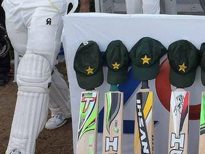 Bats honour Phillip Hughes during the test match between Pakistan and New Zealand.
