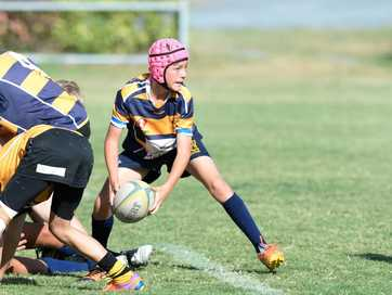 Action from the U13 Rugby Union grand final between Capricorn Coast and Central Highalnds