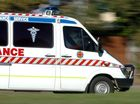 A MAN has been taken to hospital after his motorbike collided with a kangaroo overnight.