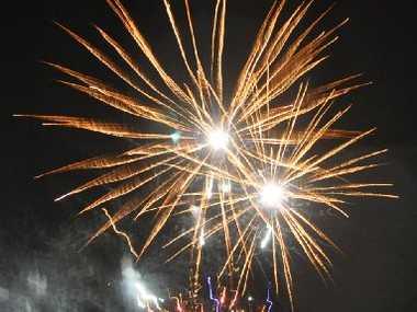 Fireworks lit the sky at the celebrations. Photo Trish Bowman / Capricorn Coast Mirror