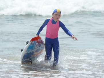 Action from the Surf Lifesaving carnival held at Emu Park on Sunday.