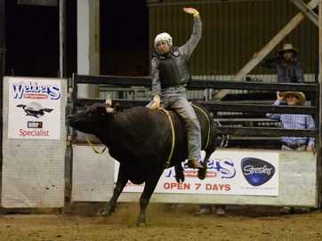 Action from the final Top Guns Rodeo for the year held at the Great Western Hotel on Friday night.