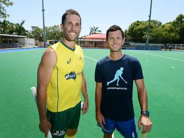Australian hockey players Mark Knowles and Jamie Dwyer back in Rockhampton for the Christmas holidays. Photo: Chris Ison / The Morning Bulletin