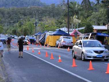 The scene in Murray Street, Manoora where eight children were found stabbed to death.
