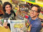 HOT HITS: JB Hi-Fi's Slater Hudson (left) and Mark Grounds with some of the Hottest 100 labels.
