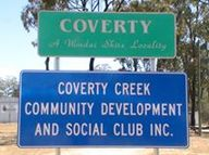 Coverty Creek Community Development and Social Club inc. Social gatherings every Sunday from 11am Sausage sizzle $2.50, Drinks available,  a free tea / coffee