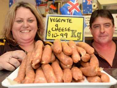 AUSSIE AUSSIE AUSSIE: Billington's Cedar Park Meats owner Lisa White and butcher in charge Mick Ellerton show off their Vegemite and Cheese flavoured sausages.