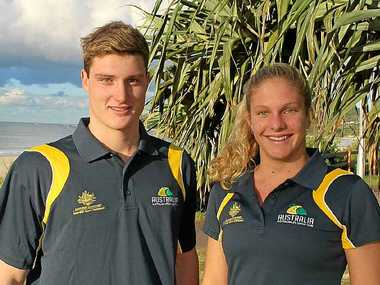 BYRON'S BEST: Josh Brown and Ela Heiniger, who were part of the winning NSW team in the interstate surf lifesaving championships at Newport Beach in Sydney.