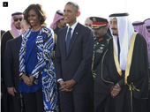 MICHELLE Obama highlighted the restrictions placed on women in Saudi Arabia as she paid her respects to the late King Abdullah without wearing a headscarf.