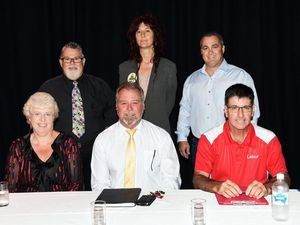Maryborough state election candidates at the public forum - Anne Maddern, Steve Anderson, Bruce Saunders, Chris Foley, Katherine Webb and Damian Huxham. Photo by Valerie Horton/Fraser Coast Chronicle
