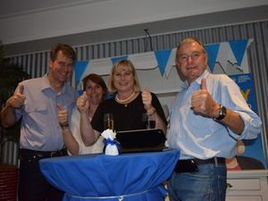 LNP Warrego candidate Ann Leahy, celebrating her election night results in Roma with outgoing LNP member Howard Hobbs (right), her brother Richard (left) and sister-in-law Marguerite Lumsden. Photo Stephanie Kay / Western Star