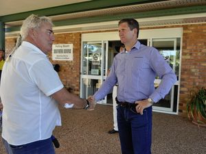 Lawrence Springborg chatting with voters outside Warwick Town Hall