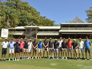 The Sydney Swans lined up to watch the birdie during the 2014 visit to Bonville Golf Resort.