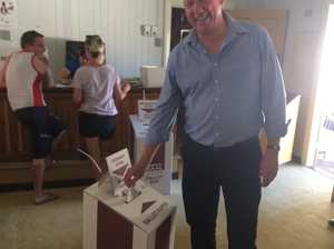 LNP's Jeff Seeney casts his vote in Monto. Photo Emma Clarke / Central Telegraph