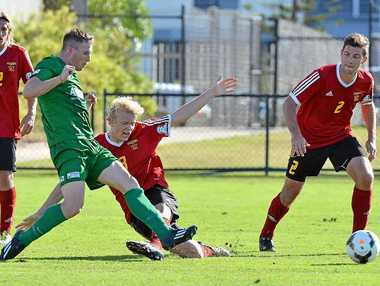 LAST SEASON: Far North Queensland's Crios O'Hare cops a tackle from the Fire's Brock Messenger.