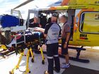 A MAN severely injured in a dirt bike accident on an isolated property west of Gladstone on Saturday had to be airlifted after flooding cut roads.