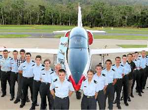 HISTORIC SITE: 110 Squadron Australian Air Force Cadets at the Whitsunday Airport on Friday evening in front of the Aero L39 Albatros high performance jet trainer aircraft. Pictured are: Cadet Flight Sergeant Adam Facey, Cadet Corporal Dylan Morrissey, Leading Cadet Adrian Vowles, Cadet Kurtis Farran, Cadet Jarrod Innell, Leading Cadet Brendan Hoffman, Cadet Corporal Craig Dorrian, Cadet Sergeant Brad Cremasco, Cadet Corporal Tristan Toms, Cadet Jake Rappard, Leading Cadet Adam Edgar, Leading Cadet Paulette McDermott, Cadet Hayley West, Cadet Corporal Jarvis Paech, Leading Cadet Samantha Diamond, Leading Cadet Brodie Toms, Leading Cadet Masaki Golding, Cadet Jesse Gatton, Cadet Tristan O'Sullivan, Cadet Jett Borghero, Leading Cadet Jessica Hales, Cadet Sergeant Kristy-Lee Toms, Cadet Codee Bulmer, Cadet Ethan O'Sullivan, Cadet Harley Jones, Leading Cadet Nikita Harding, Leading Cadet Cody Rosevear, Leading Cadet Lachlan Male, Cadet Sergeant Dakota Ayles and Cadet Under Officer Cal Taylor.