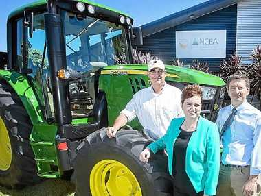 GLOBAL PARTNERSHIP: John Deere Intelligent Solutions Group senior staff engineer Broughton Boydell, USQ vice-chancellor Professor Jan Thomas and Institute for Agriculture and the Environment executive director Professor Steven Raine.