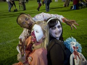 Showing their best zombie impersonation are (from left) David Moore, Mimi Banks and Sonya Moore.