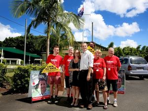 Isaac Smith with his wife Denise and campaign launch supporters.