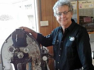 Bill Sheaffe, of Caddies Coffee and Tea, with the old coffee roaster and, below left, back when he used to use the machine.