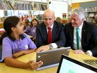 Minister of Education Adrian Piccoli and Geoff Provest talking with Pottsville Primary School student Veronica Deering when visiting the school to announce a five million dollar upgrade. Photo: Nolan Verheij-Full / Tweed Daily News