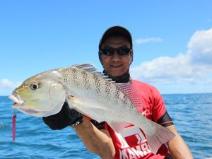 Alston with a quality grunter caught in Platypus Bay on a charter with Hervey Bay Fly and Sportfishing.