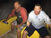 AS the Coombell Star went down off the coast of Evans Head, Brett McMahon and Glenn Deas leapt into water they'd been watching sharks swim in a little earlier.