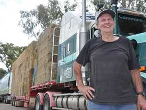 Retired truck driver Ray Watson volunteered his time to drive a road train of hay to Longreach. Photo Michael Cormack / Warwick Daily News