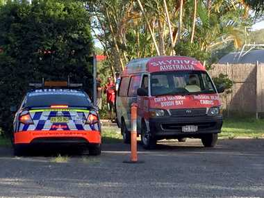 Two skydivers are in a critical condition after falling to the ground at Tyagarah.