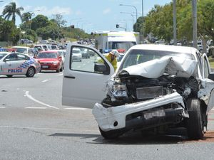 Five-car crash on Malcomson Street roundabout, Mt Pleasant.
