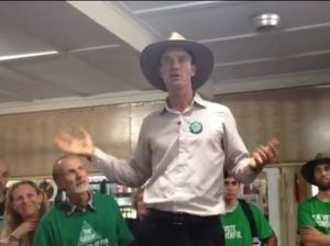 Lismore Greens candidate Adam Guise explains to supporters just how well they've done, even if they aren't ready to declare victory.
