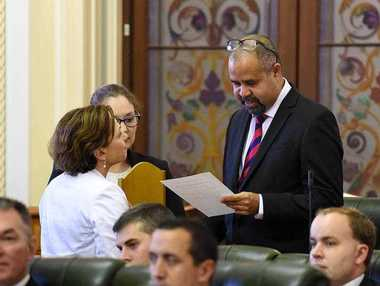 Queensland MP Billy Gordon is sworn-in at Parliament House in Brisbane.