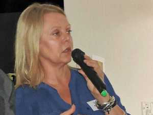 BRIDGE DILEMMA: Councillor Sandy Bolton tells the Cooroy forum why Elm St bridge is not being upgraded by the State Government.