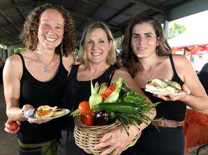 Sarah Smith, Donna Cecil and Ulani Wehling at the Murwillumbah farmers markets. Photo: John Gass / Tweed Daily News